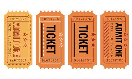 biglietto: Vector set di carta vintage ammettere un biglietto e campioni icona.