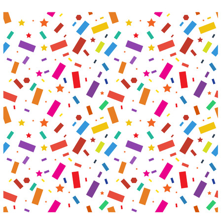 streamers: Party colorful confetti, streamers pattern. Seamless. Vector. Illustration.