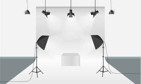 photography backdrop: Photography studio with lighting equipment and backdrop. Illustrated vector. Display mock-up. Box in the middle for your object design