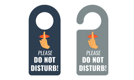 quiet: Do not disturb. Door hanger. Keep quiet and shhh sign. Illustrated Vector.