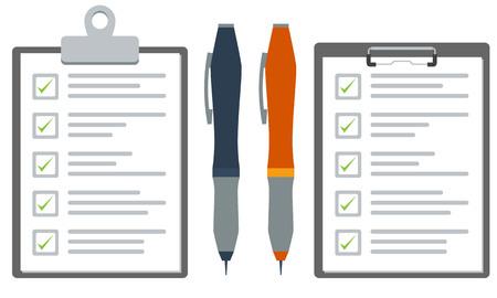 チェックリストや調査用紙とクリップボードと青とオレンジ色のペンを示します。フラット カラー ベクトル グラフィック。