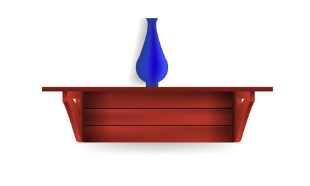 store interior: Vector dark Empty Shelf Shelves Isolated on Wall Background and a blue jug on it. Ideal Display Mock-up for your design. Illustration