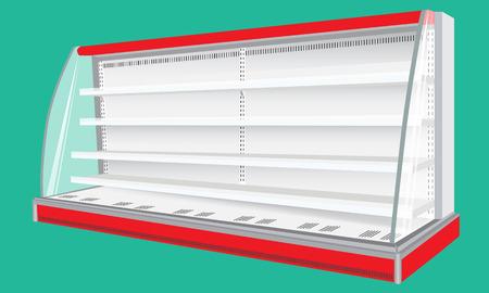 Vector Gekoelde Regal Rack koelkast met rode elementen. Handel rekken. Wandkast lege lege Showcase Displays. 3D Producten Op groene achtergrond geïsoleerd. Mock-up voor uw ontwerp. Product Verpakking.