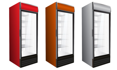 Isolated Display Market Commercial refrigerator for drinks, bottles, perishables. Vector illustration. Vettoriali