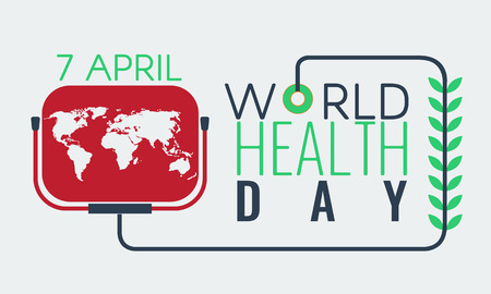 Creative World Health Day Greeting logo, sign, symbol with world map and leaf. Stock vector Logo