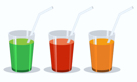 A set of fresh isolated vegetable juices. Green, red, orange solid flat color juice with glass