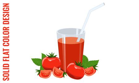 fiambres: Un vaso de jugo de tomate, algunos tomates y albahaca. Ilustrado vector stock con colores planos sólidos