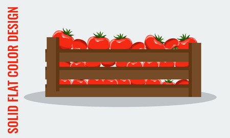 wooden crate: Juicy Tomato. Fresh vegetables in wooden crate. Solid flat color style vector illustration.