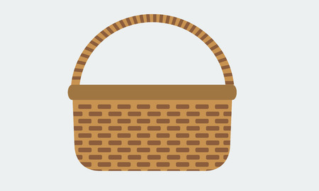 rattan: Illustrated Wicker basket for icon with solid flat color. Stock Vector.