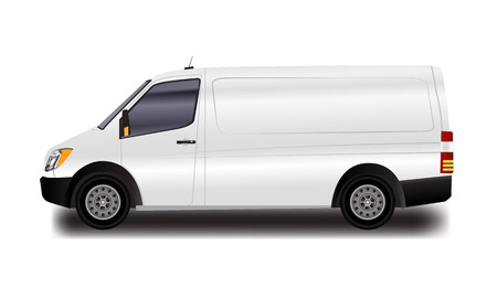Template for advertising and corporate identity. Illustrated vector White Van. Blank transport mockup for your design.