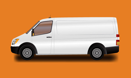 Template for advertising and corporate identity. Illustrated vector white van. Blank transport mockup for your design.  イラスト・ベクター素材