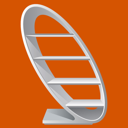 cretive: Round style cretive blank empty display shelf with racks for supermarket or to show products. Unique and nice Exhibition Pos-poi for your design. Illustrated stock . Realistic color style
