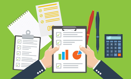 calculate: Businesman holding paper sheet in hands, paperwork, consultant, financial audit, financial research report, auditing tax process, data analysis, seo analytics, market stats calculate