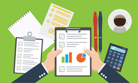 Businesman holding paper sheet in hands, paperwork, consultant, financial audit, financial research report, auditing tax process, data analysis, seo analytics, market stats calculate