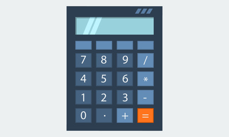 solid color: Calculator, with light blue screen, flat solid color design illustration icon