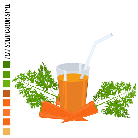 solid color: Fresh carrot with glass full of carrot juice, flat solid color style, realistic leaf healthy food, vector icon Illustration