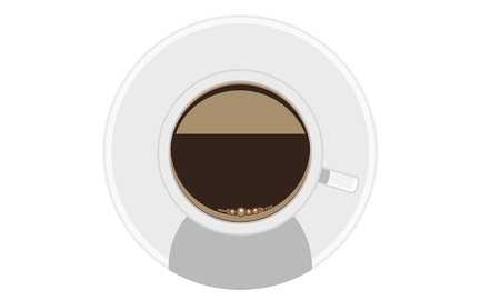 solid color: White mug of coffee with foam and saucer. Mock up view from the top. Illustration vector  with flat solid color design