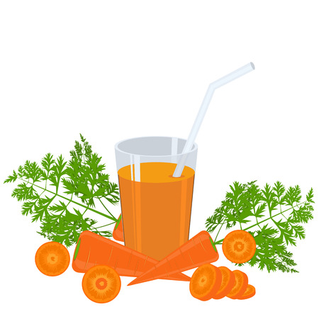 carrot isolated: Vegetable organic food fresh and sliced carrot isolated on white background vector illustration. Glass of juice. Flat and solid color design.