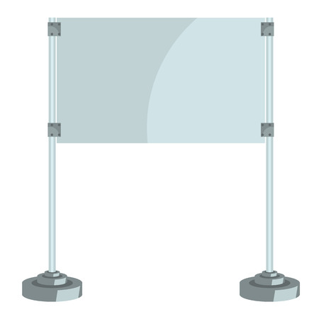 solid color: Illustration of a glass screen with metal racks, flat and solid color design vector. Ready empty display mock up for your design