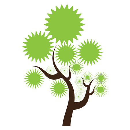 solid color: Creative abstract stylized tree. Solid and flat color design. Illustrated vector Illustration