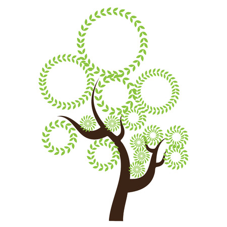 Creative abstract stylized tree. Solid and flat color design. Illustrated vector Illustration