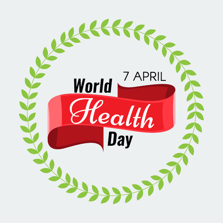 solid color: Creative 7 April - World Health Day Greeting stock vector. Red ribbon. Solid flat color design for Health Day concept. Illustration