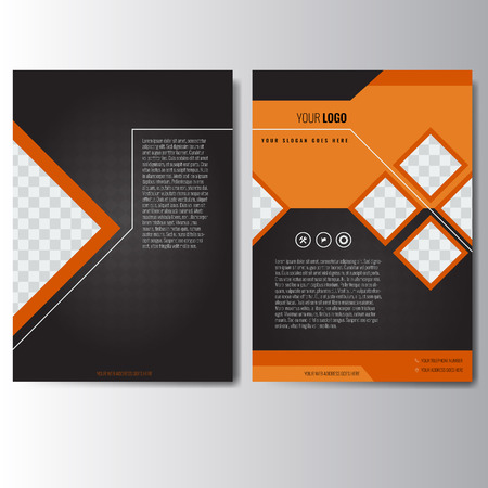 Creative orange and black annual report Leaflet Brochure Flyer template A4 size design, book cover layout design. Abstract and unique creative presentation template. Vettoriali