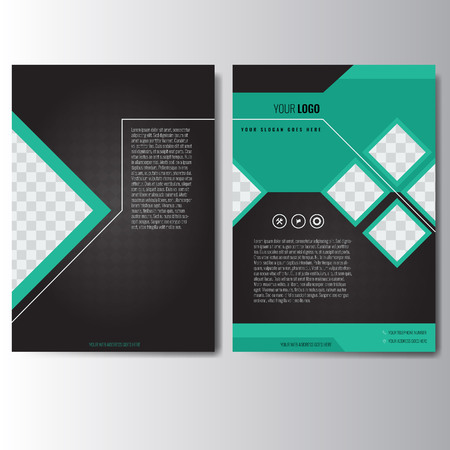 Creative green and black annual report Leaflet Brochure Flyer template A4 size design, book cover layout design. Abstract and unique creative presentation template.  イラスト・ベクター素材