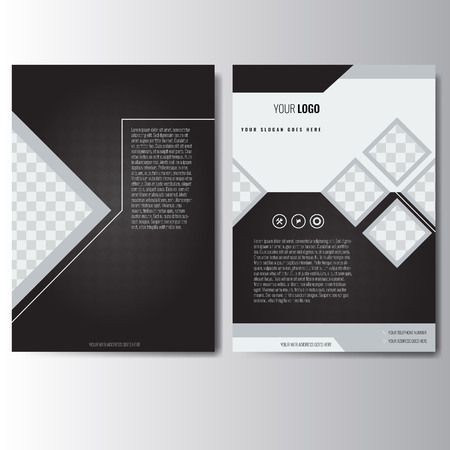 Creative white and black annual report Leaflet Brochure Flyer template A4 size design, book cover layout design. Abstract and unique creative presentation template.