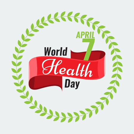 solid color: Creative sign or logo for 7 April - World Health Day Greeting stock vector. Red ribbon banner. Solid flat color design for Health Day concept Illustration