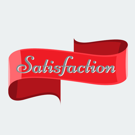 no color: Illustrated Red glossy ribbon vector banner with solid flat color for your title. No gradient Illustration