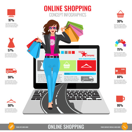 Online shopping concept infographics in vector. Illustrated Woman with paper shopping bags walking from laptop on road. Illustration