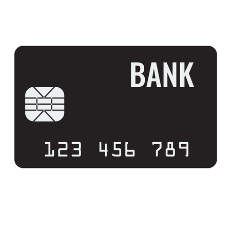 solid color: Credit card icon, plastic bank bank card icon, solid and flat color design in vector