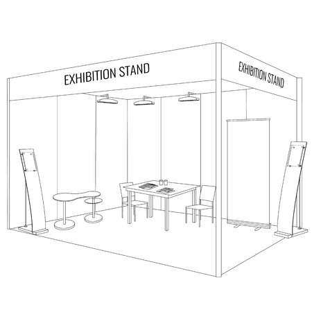 Vector Blank vakbeurs booth staan met een tafel en stoel, info board, oprollen, flyers en brochures op de tafel. Trendy outline stijl