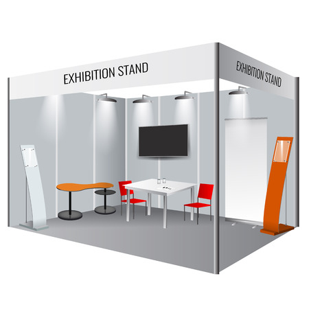 trade: Illustrated unique creative exhibition stand display design. Booth template. Corporate identity. Vector Mock-up
