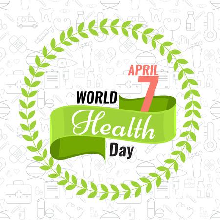 크리 에이 티브 서명 또는 로고 4 월 7 일 - 세계 보건 데이팅 인사말 재고 벡터. 녹색 리본 배너입니다. 건강의 날 개념에 대한 단색 평면 디자인. 원활한 유행 개요 의료 아이콘