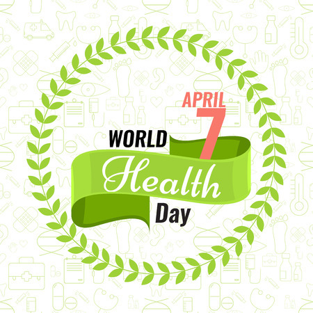 solid color: Creative sign or logo for 7 April - World Health Day Greeting stock vector. Green ribbon banner. Solid flat color design for Health Day concept. Seamless trendy outline medical icons