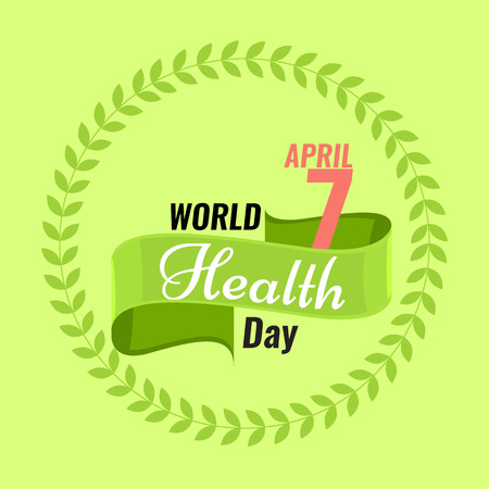 solid color: Creative sign or logo for 7 April - World Health Day Greeting stock vector. Green ribbon banner. Solid flat color design for Health Day concept
