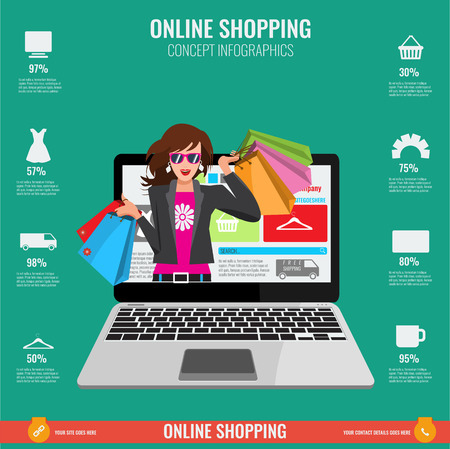 online business: Online shopping concept infographics in vector. Illustrated Woman with paper shopping bags watching from laptop.