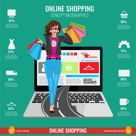 webmaster: Online shopping concept infographics in vector. Illustrated Woman with paper shopping bags walking from laptop on road. Illustration