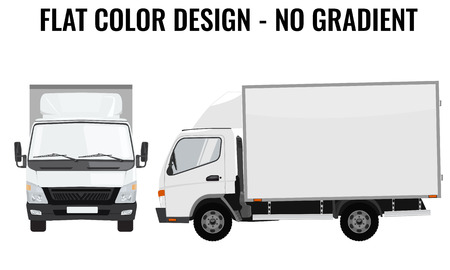 truck on highway: Vector small truck front view and side view. Cargo delivery. Solid and Flat color  design. White truck car for transportation. Corporate identity.