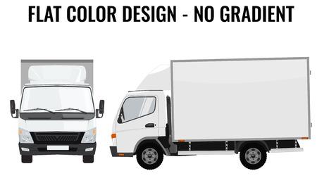 Wektor mała ciężarówka widok z przodu iz boku. Dostawa ładunków. Solidna i płaska konstrukcja koloru. Biały ciężarówka do przewozu samochodów. Tożsamość zbiorowa.