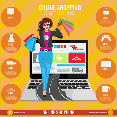 lines background: Online shopping concept infographics in vector. Illustrated Woman with paper shopping bags walking from laptop on road and orange background with lines.
