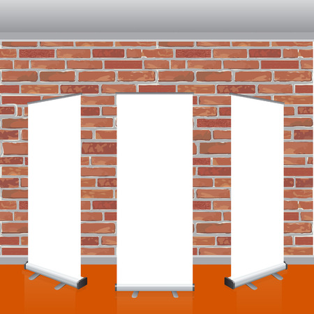 interrior: Set of Blank roll up banners display template with red brick wall background.  Realistic Interrior roof and shiny floor. Vector illustration. Mockup for your design Illustration