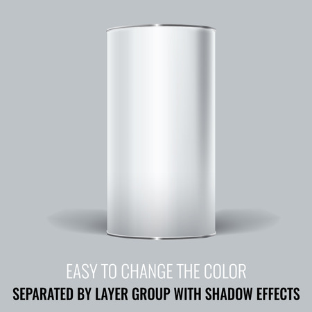 shadow: White Blank Tincan packaging. Vector Mock up design for gift box, tea, coffee, dry products. Separated by layer group with transparency and shadow effects. Easy to change the color.