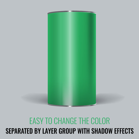 tincan: Green Blank Tincan packaging. Vector Mock up design for gift box, tea, coffee, dry products. Separated by layer group with transparency and shadow effects. Easy to change the color. Illustration