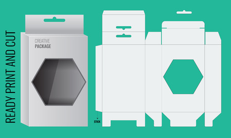 Gotowy projekt Box Półka Wisząca Holes and Die cut Układ. projekt Blueprint. Wektor zilustrowane. gotowe druku i cięcia. Pudełko z okienkiem wielokąta Ilustracje wektorowe