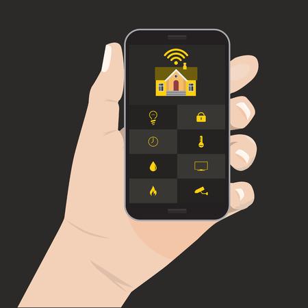 centralized: Flat color design style modern vector illustration concept of smart house technology system. Centralized control Smart House. For home control infographic design element. Hand holding smart phone Illustration