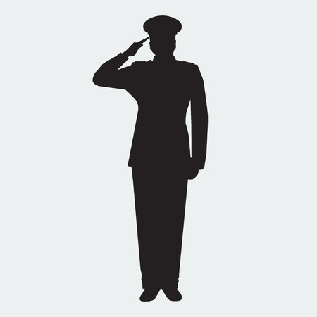 Illustrated Army general silhouette with hand gesture saluting. Vector military man. Veterans day design element.