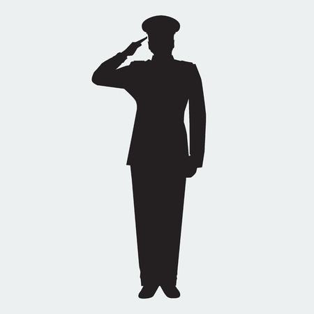 Ilustrowana Army ogólna sylwetka gest salutowania. Wektor wojskowym. Weterani dni element projektu.